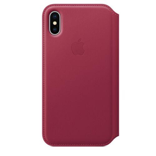 Apple iPhone X kinyitható bőrtok – bogyópiros