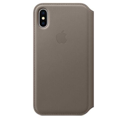 Apple iPhone X kinyitható bőrtok – vakondszürke