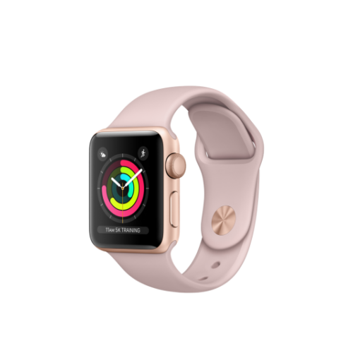 Apple Watch Series 3 - 42 mm-es, aranyszínű alumíniumtok rózsakvarcszínű sportszíjjal