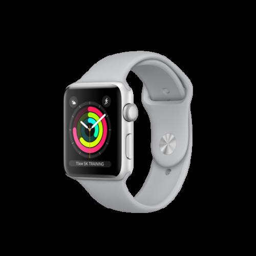 Apple Watch Series 3 - 42 mm-es, ezüstszínű alumíniumtok ködszürke sportszíjjal