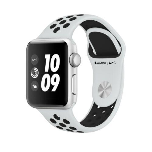 Apple Watch Series 3 - 38 mm-es, ezüstszürke alumíniumtok platinaszín–fekete Nike sportszíjjal